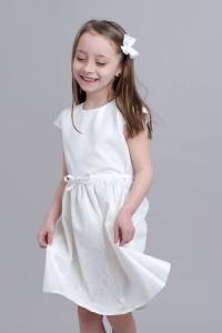 5072e43ade Sukienka Dziewczęca Ecru Z Koronką