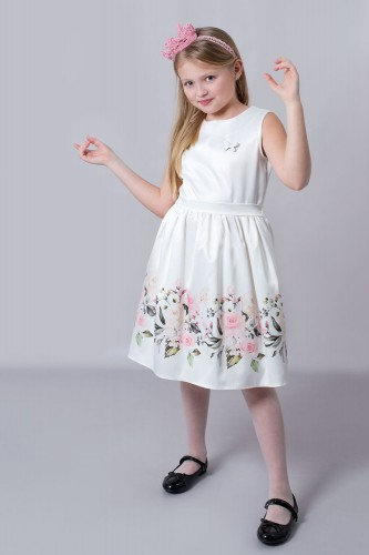 5c38008607 Sukienka-komunijna-wizytowa-ecru-w-kwiaty-z-kokarda-