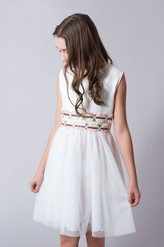 bb450b5a16 Wizytowa Sukienka Ecru Z Tiulem E-Sklep Olek i Lenka