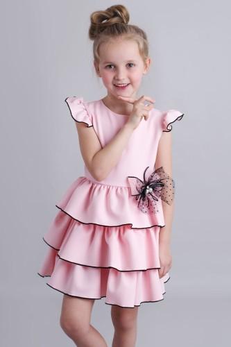 07900a642e Różowa Sukienka Dziewczęca Z Falbankami